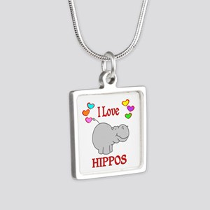 I Love Hippos Silver Square Necklace
