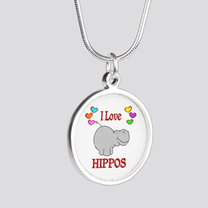 I Love Hippos Silver Round Necklace