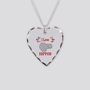 I Love Hippos Necklace Heart Charm