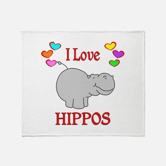 I Love Hippos Throw Blanket