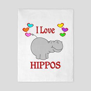I Love Hippos Twin Duvet