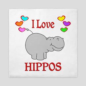 I Love Hippos Queen Duvet
