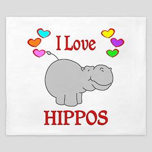I Love Hippos King Duvet