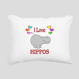 I Love Hippos Rectangular Canvas Pillow