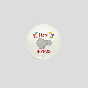 I Love Hippos Mini Button