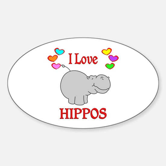 I Love Hippos Sticker (Oval)