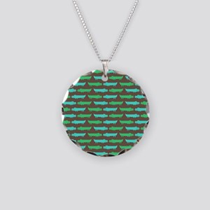 Green and Turquoise Alligator Pattern Necklace
