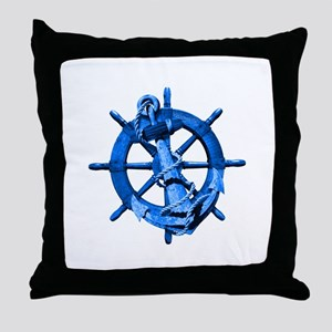 Blue Ship Anchor And Helm Throw Pillow