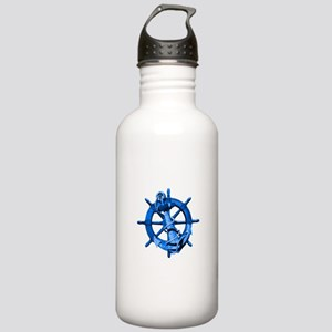 Blue Ship Anchor And Helm Water Bottle
