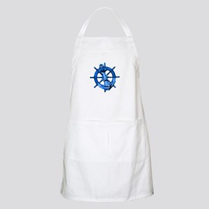 Blue Ship Anchor And Helm Apron