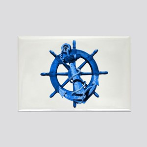 Blue Ship Anchor And Helm Rectangle Magnet