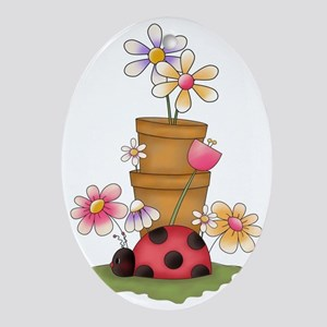 cute garden ladybug and flower pots Oval Ornament