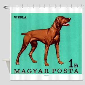 1967 Hungary Vizsla Dog Postage Stamp Shower Curta