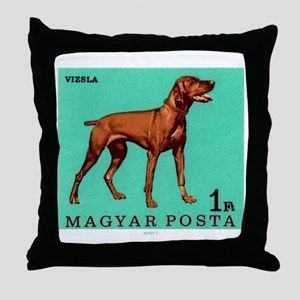 1967 Hungary Vizsla Dog Postage Stamp Throw Pillow