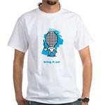 Moody little epee character on a White T-Shirt