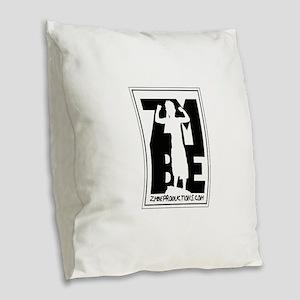 allbutblacklogo Burlap Throw Pillow