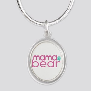 Mama Bear - Family Matching Silver Oval Necklace
