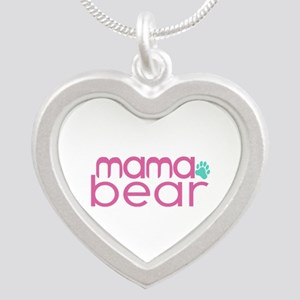 Mama Bear - Family Matching Silver Heart Necklace