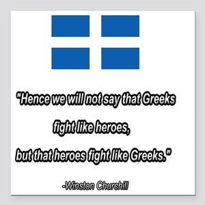"WW2 Churchill quote Square Car Magnet 3"" x 3"""