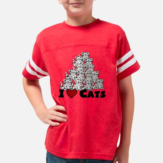 i  lovE CATS Youth Football Shirt