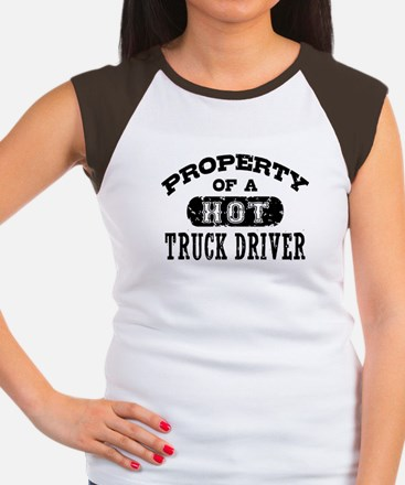 Property of a Hot Truck Driver Women's Cap Sleeve