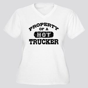 Property of a Hot Trucker Women's Plus Size V-Neck