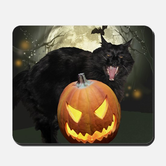 Scary Halloween Cat Mousepad