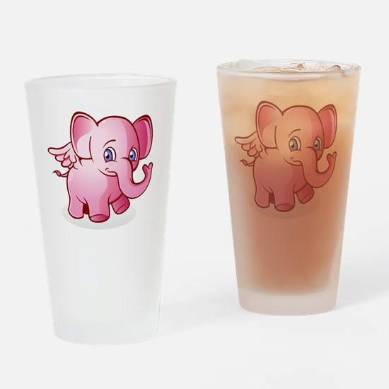 flying baby pink elephant Drinking Glass