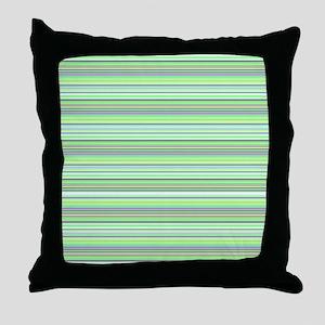 Retro Green Pinstripes Throw Pillow