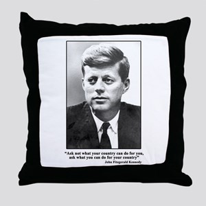 JFK Inaugural Quote Throw Pillow