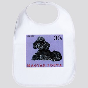 Vintage 1967 Hungary Poodle Dog Postage Stamp Bib