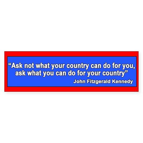 JFK Inaugural Quote Bumper Sticker