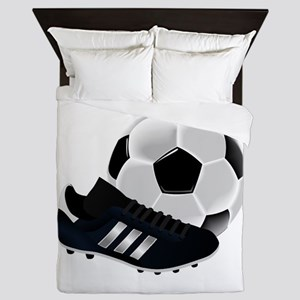 Soccer Ball and Cleats Queen Duvet