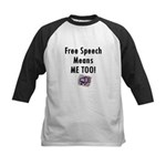 Free Speech Means Me Too Kids Baseball Jersey