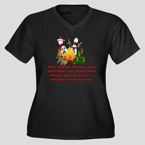 Women's Plus Size Dark V-Neck T-Shirt