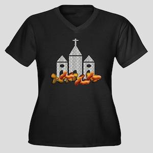 Religious Nu Women's Plus Size Dark V-Neck T-Shirt