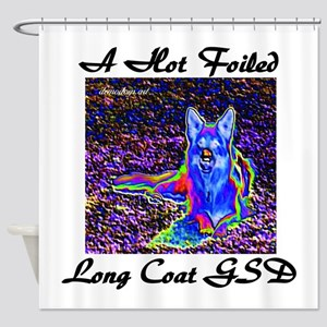 A Hot Foiled Long Coat GSD Shower Curtain