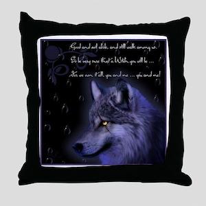 night wolf Throw Pillow