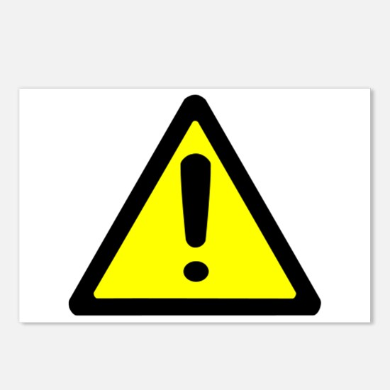 Exclamation Point Caution Sign Postcards (Package