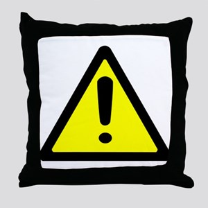 Exclamation Point Caution Sign Throw Pillow
