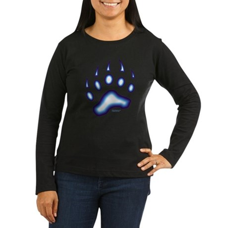 Blue Glow Bear Paw Women's Long Sleeve Dark T-Shir