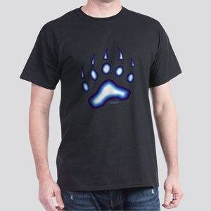 Blue Glow Bear Paw Dark T-Shirt