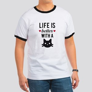 Life is better with a cat, text design, word art T