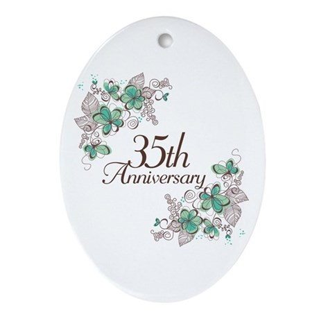 35th Anniversary Keepsake Ornament (Oval)