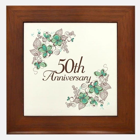 50th Anniversary Keepsake Framed Tile