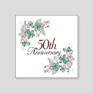 "50th Anniversary Keepsake Square Sticker 3"" x 3"""