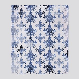 distressed white and royal blue dama Throw Blanket