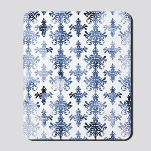 distressed white and royal blue damask p Mousepad