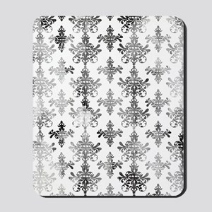 distressed black and white damask Mousepad