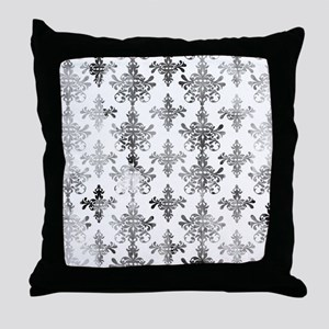 distressed black and white damask Throw Pillow